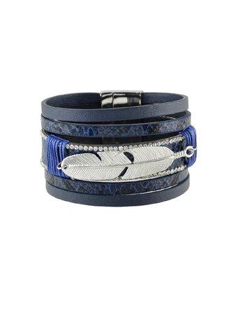 Blue Multilayer Blue Black Pu Leather Wrap Bracelets