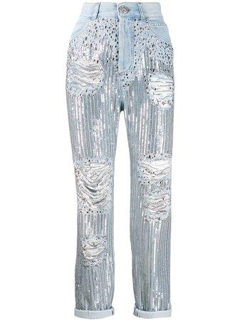 Balmain high-rise Sequin Boyfriend Jeans - Farfetch