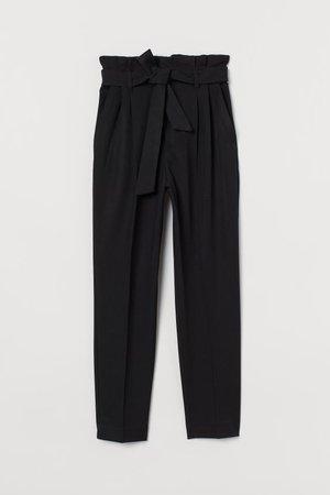 Paper-bag Pants - Black - Ladies | H&M US