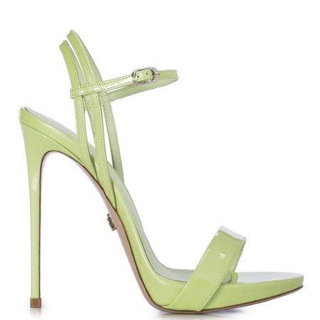 GWEN SANDAL 120 mm | Light green patent sandal | Le Silla