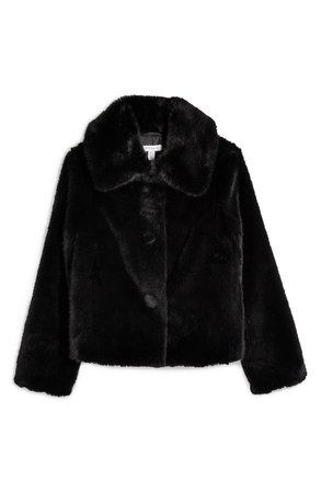 Topshop Anne Faux Fur Crop Coat black