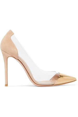 Gianvito Rossi | Plexi 105 metallic leather, suede and PVC pumps | NET-A-PORTER.COM