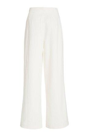 Solace Pleated Cotton-Linen Wide-Leg Pants by Posse   Moda Operandi