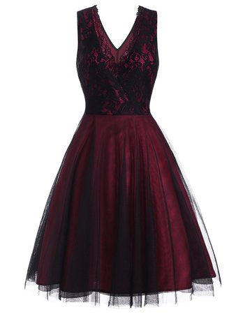 Lace Overlay Surplice Party Dress [34% OFF]   Rosegal