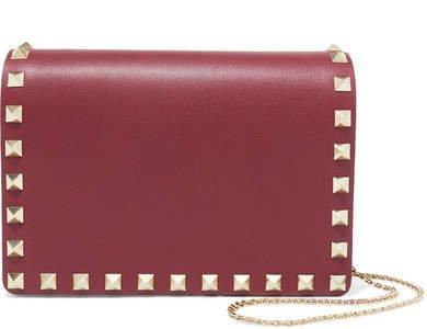 Garavani The Rockstud Leather Shoulder Bag - Burgundy