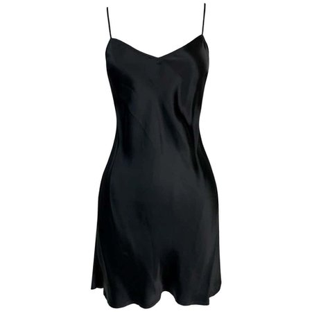 *clipped by @luci-her* 1995 Dolce and Gabbana Black Satin Mini Slip Dress