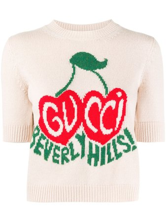 Gucci cherry wool crop top