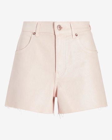Super High Waisted Coated Mom Jean Shorts