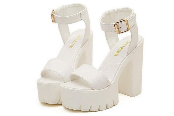 White high heel sandals.