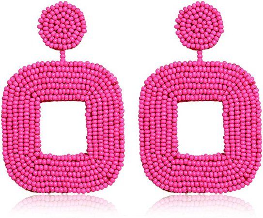 Amazon.com: Boderier Beaded Drop Earrings Bohemian Wire Wrapped Beaded Square Hoop Dangle Statement Earrings (Hot Pink): Clothing