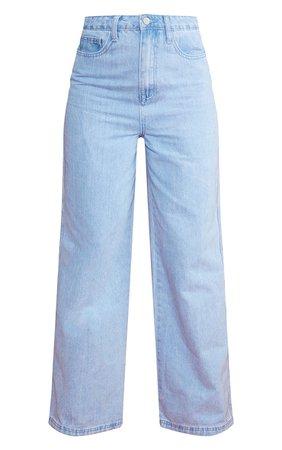 Acid Blue Wash Wide Leg Jeans   Denim   PrettyLittleThing USA