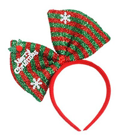 Hair Hoop Christmas Hair Accessory Headwear Colorful Bow Headband Christmas Holiday Party Supplies Gifts (Green): Health & Personal Care