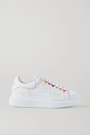 Leather Exaggerated-sole Sneakers - White
