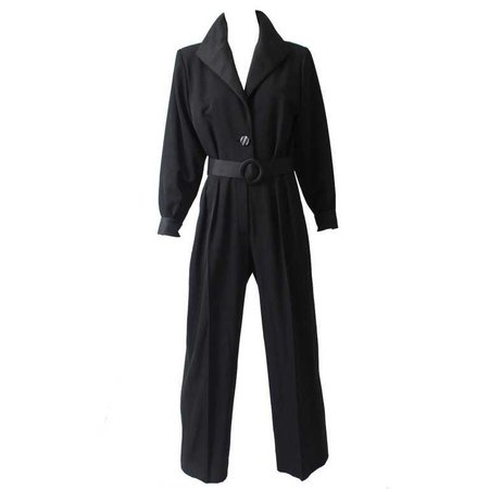 Yves Saint Laurent Le Smoking YSL Rive Gauche Black Tuxedo Jumpsuit, 1990s For Sale at 1stdibs