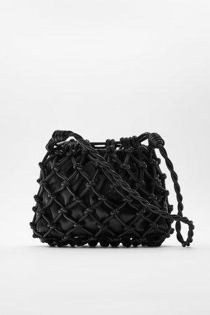 LEATHER BUCKET BAG | ZARA United States black