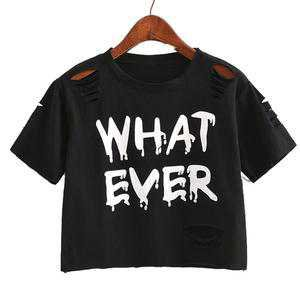 Whatever Crop Top Belly Shirt Punk Rock Edgy Goth | Kawaii Babe