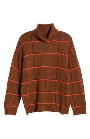 J.O.A. Checked Turtleneck Sweater brown