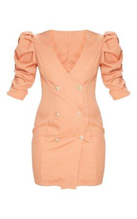 Terracotta Ruched Sleeve Gold Button Blazer Dress | PrettyLittleThing USA