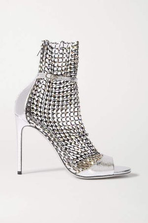 Galaxia Crystal-embellished Mesh And Metallic Watersnake Sandals - Silver