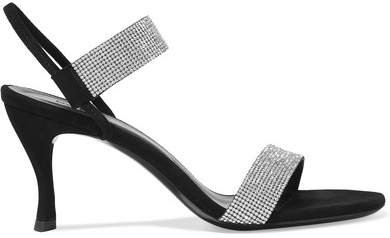 Mariah Crystal-embellished Suede Sandals - Black