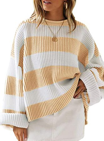 ZESICA Women's Long Sleeve Crew Neck Striped Color Block Comfy Loose Oversized Knitted Pullover Sweater Grey at Amazon Women's Clothing store