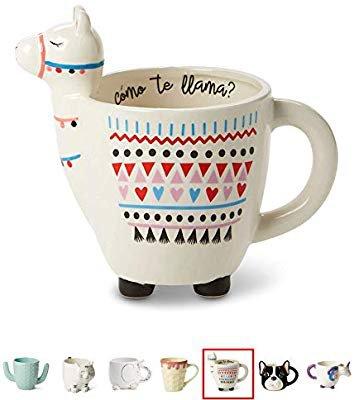 Amazon.com: White Ceramic Coffee or Tea Mugs: Tri-Coastal Design Como Te Llama Coffee Mug with Hand Printed Designs and Printed Saying - 18.6 Fluid Ounce Large, Cute Handmade Cup: Kitchen & Dining