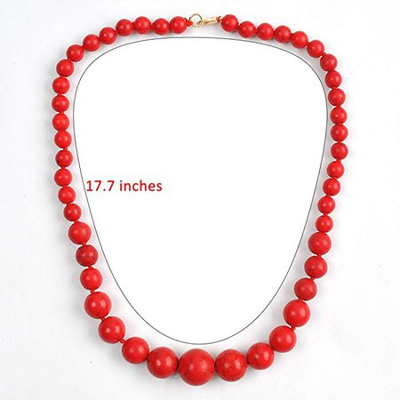 Amazon.com: JANE STONE Fashion Elegant Multi-Size Coral Red Beaded Funky Necklace Statement Bib Jewelry for Mummy(Fn1270-Red): Jewelry