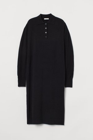 Knit Collared Dress - Black