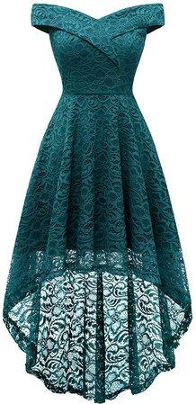 Homrain Women's Vintage Floral Lace Off Shoulder Hi-Lo Wedding Cocktail Formal Swing Dress: Clothing