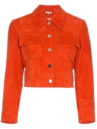 Ganni salvia suede leather jacket $362 - Buy Online - Mobile Friendly, Fast Delivery, Price
