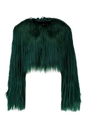 Shaggy Crop Faux Fur Coat | Boohoo