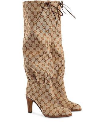 Gucci GG Canvas mid-heel Boot - Farfetch