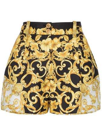 Versace High Waisted Baroque Print Silk Shorts - Farfetch