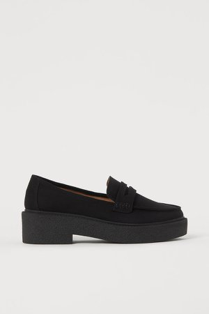 Chunky-soled Loafers - Black