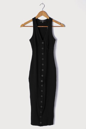 Black Midi Dress - Sleeveless Midi Dress - Ribbed Knit Dress - Lulus