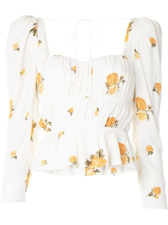 Reformation Plath Ruched Blouse - Farfetch