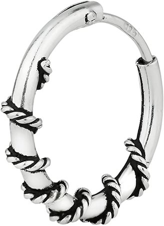 """Amazon.com: Forbidden Body Jewelry Sterling Silver Hypoallergenic 7/16"""" Braided Design Cartilage Hoop Earring (Sold Individually): Clothing"""