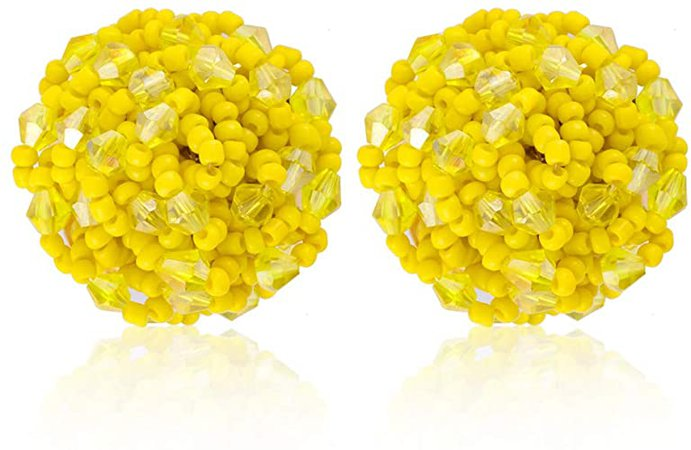 Amazon.com: Crystal Seed Beaded arrings - Seed Beaded Stud Earrings, Great Bead Earrings For Women - Seed Beaded Earrings for Women, Ideal Gift for Sister, Mother, Friends (Crystal Yellow): Jewelry