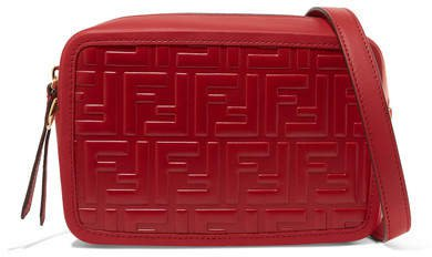Embossed Leather Camera Bag - Red