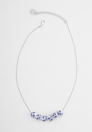 Blue Jasmine Beaded Necklace in White Blue | ModCloth