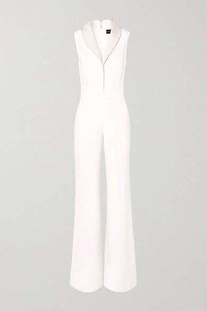 Faille-trimmed Silk Crepe De Chine Jumpsuit - Ivory
