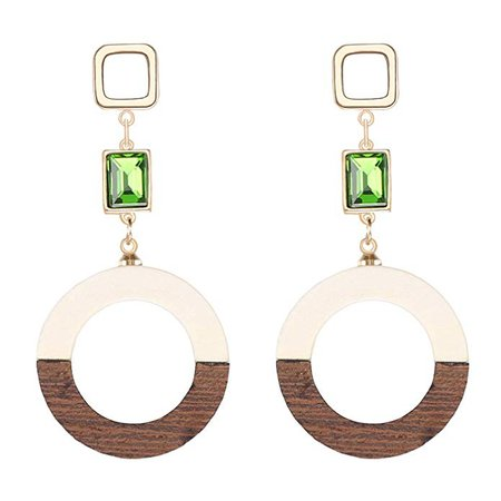 Amazon.com: Geometric Drop Earrings, Bohemian Emerald with Circle Dangle Earrings for Women, Brown and White: Clothing