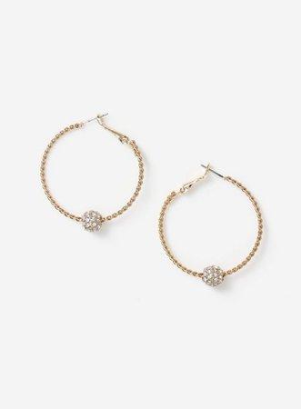 Gold Look Crystal Pave Ball Hoop Earrings | Miss Selfridge