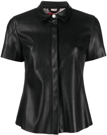 Salma faux-leather shirt