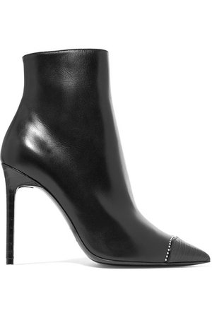 Saint Laurent | Anja embellished smooth and croc-effect leather ankle boots | NET-A-PORTER.COM