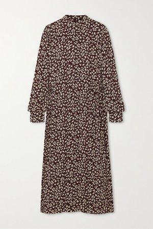 GANNI   Printed crepe midi dress   NET-A-PORTER.COM