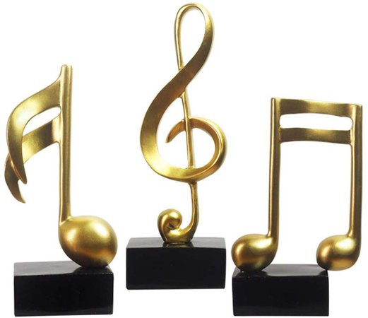 Amoy-Art Musical Note Music Note Figurine Statue Sculpture Home Decor Decoration Gift Arts Crafts Hand Painted Polyreisn 19cmH Set of 3 Gold: Amazon.co.uk: Welcome