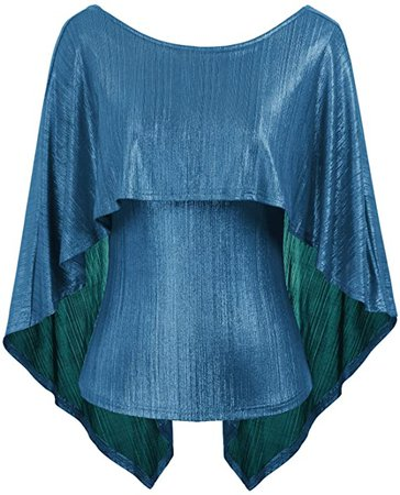 GRACE KARIN Women's Sexy Backless High Stretchy Irregular Drape Cape Blouse Top at Amazon Women's Clothing store
