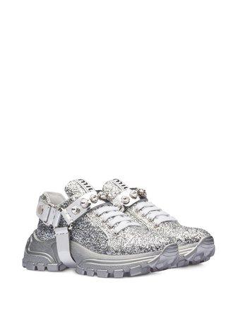 Miu Miu Crystal Embellished Glitter Sneakers 5E735CFD0753C8U Silver | Farfetch