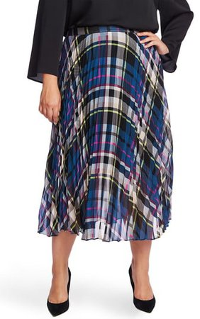 Plaid Pleated Midi Skirt